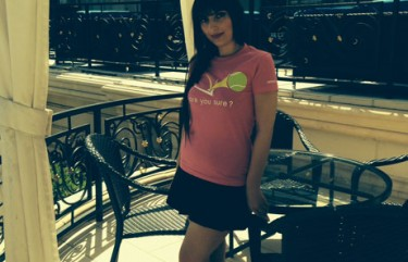 "Karolina Sivas wearing ""Are You Sure?"" shirt."